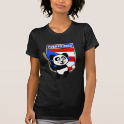 Women's American Apparel Fine Jersey Short Sleeve T-Shirt with Puerto Rico Baseball Panda design