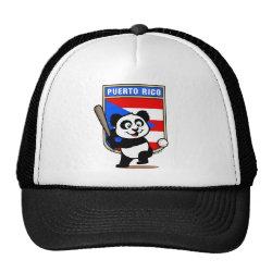 Trucker Hat with Puerto Rico Baseball Panda design