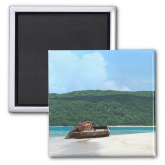 Puerto Rico Beach Tank 2 Inch Square Magnet