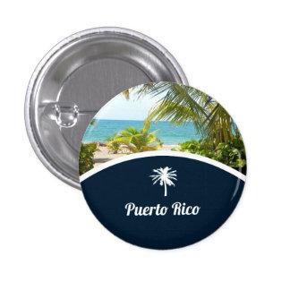 Puerto Rico: Beach with Palm Trees Travel Souvenir Button
