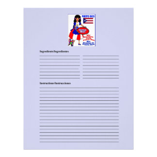 Puerto Rico blank meat recipe cards