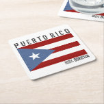"Puerto Rico Boricua Square Paper Coaster<br><div class=""desc"">Puerto Rico,  100% Boricua with Puerto Rican flag patriotic design to celebrate your Boricua Pride.</div>"