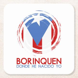 Puerto Rico Borinquen Square Paper Coaster