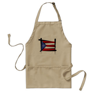 Puerto Rico Brush Flag Adult Apron