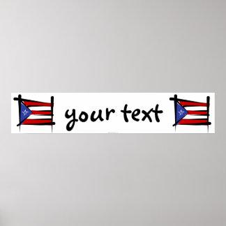 Puerto Rico Brush Flag Banner Poster