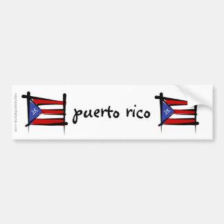Puerto Rico Brush Flag Bumper Sticker