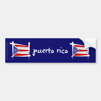 Puerto Rico Brush Flag Bumper Sticker