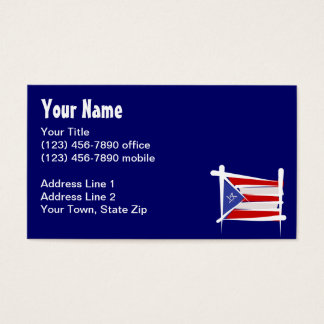 Puerto Rico Brush Flag Business Card
