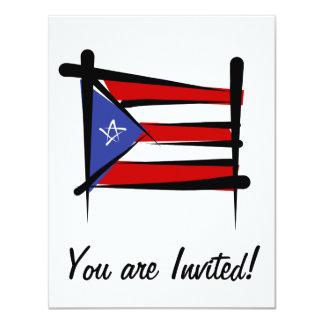 Puerto Rico Brush Flag Card
