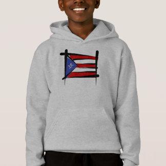 Puerto Rico Brush Flag Hoodie
