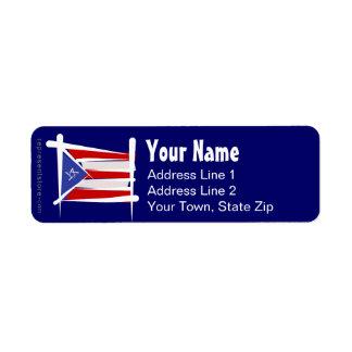 Puerto Rico Brush Flag Label