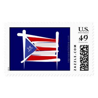 Puerto Rico Brush Flag Postage Stamp