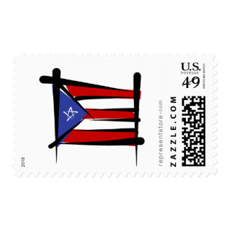 Puerto Rico Brush Flag Postage Stamps