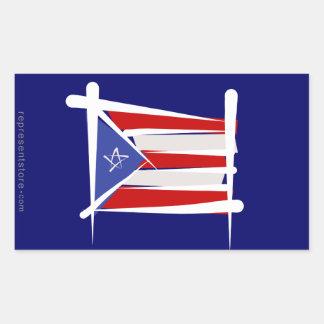 Puerto Rico Brush Flag Rectangular Sticker