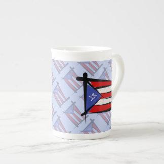 Puerto Rico Brush Flag Tea Cup