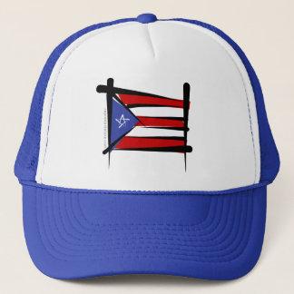 Puerto Rico Brush Flag Trucker Hat