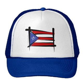 Puerto Rico Brush Flag Trucker Hat