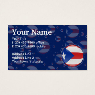 Puerto Rico Bubble Flag Business Card