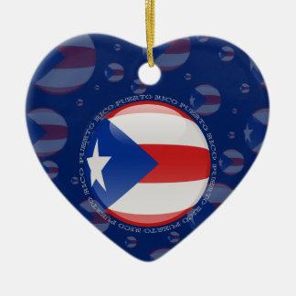 Puerto Rico Bubble Flag Ceramic Ornament