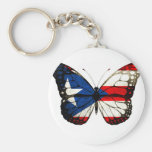 Puerto Rico Butterfly Basic Round Button Keychain