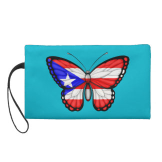 Puerto Rico Butterfly Flag Wristlet Clutches