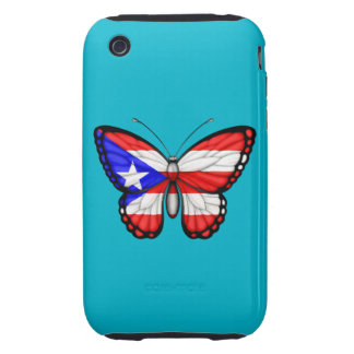 Puerto Rico Butterfly Flag Tough iPhone 3 Covers