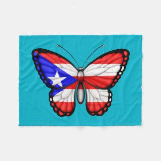 Puerto Rico Butterfly Flag Fleece Blanket
