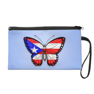 Puerto Rico Butterfly Flag on Blue Wristlet
