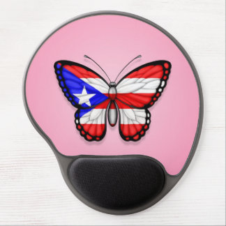 Puerto Rico Butterfly Flag on Pink Gel Mouse Mat