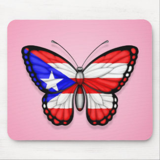 Puerto Rico Butterfly Flag on Pink Mouse Pad