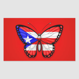 Puerto Rico Butterfly Flag on Red Rectangular Sticker