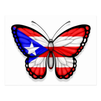 Puerto Rico Butterfly Flag Postcard