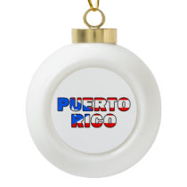 Puerto Rico Ceramic Ball Christmas Ornament