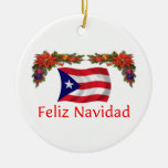Puerto Rico Christmas Double-Sided Ceramic Round Christmas Ornament