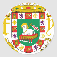 Puerto Rico Coat Of Arms Classic Round Sticker