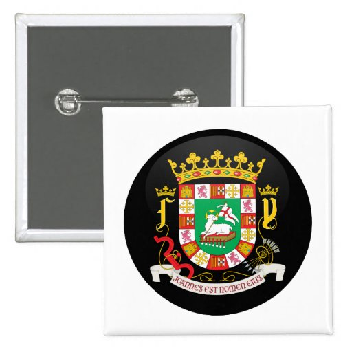 puerto rico coat of arms detail pinback button zazzle