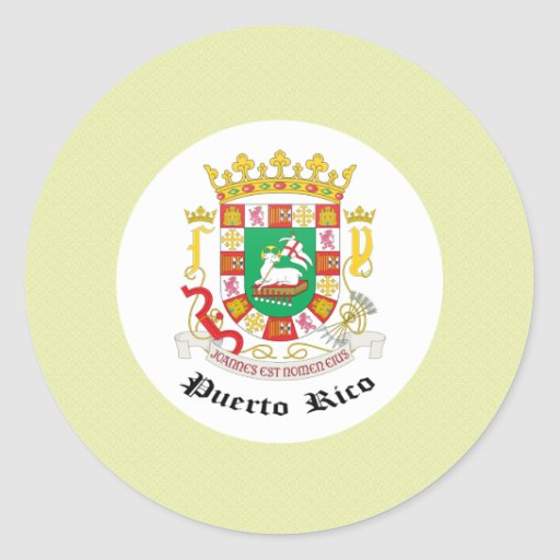 Puerto Rico Coat of Arms detail Classic Round Sticker