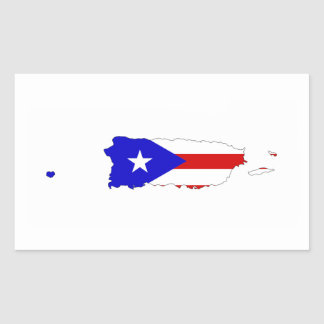 puerto rico country flag map rectangular sticker
