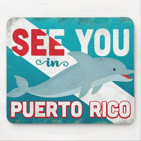 Puerto Rico Dolphin - Retro Vintage Travel Mouse Pad