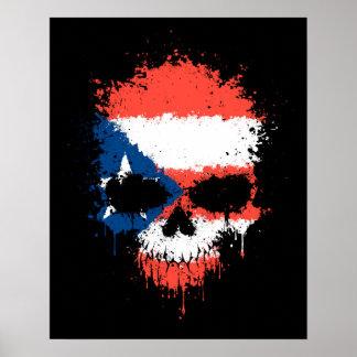 Puerto Rico Dripping Splatter Skull Poster