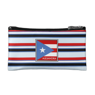 Puerto Rico Flag and Stripes Personalized Cosmetic Bag