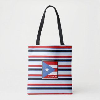 Puerto Rico Flag and Stripes Personalized Tote Bag