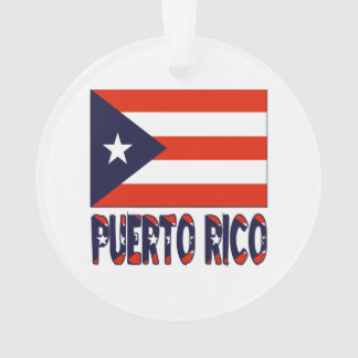 Puerto Rico Flag and Words Ornament