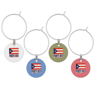 Puerto Rico Flag and Words Wine Charm