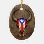 Puerto Rico Flag Bull Skull on Wood Effect Ornament
