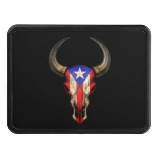 Puerto Rico Flag Bull Skull Trailer Hitch Cover