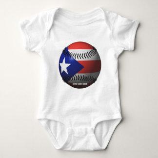 Puerto Rico Flag Covering a Baseball Baby Bodysuit