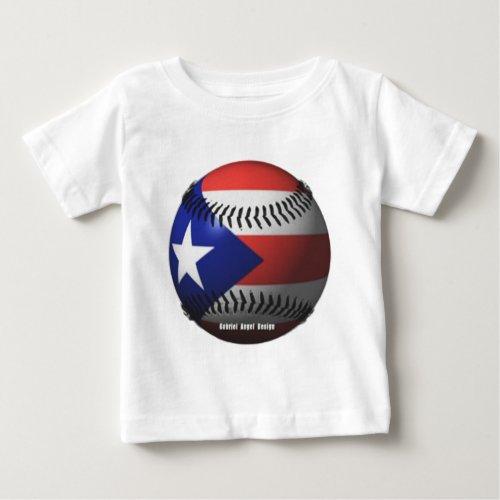 Puerto Rico Flag Covering a Baseball Baby T_Shirt