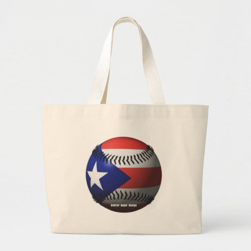 Puerto Rico Flag Covering a Baseball Large Tote Bag