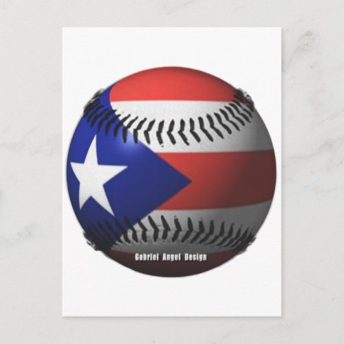 Puerto Rico Flag Covering a Baseball Postcard
